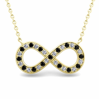 Classic Black and White Diamond Necklace in 18k Gold Infinity Pendant