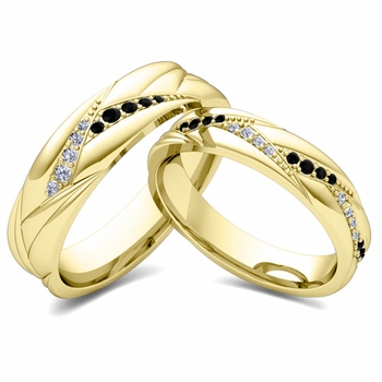 Matching Wave Wedding Band in 18k Gold Black and White Diamond Ring