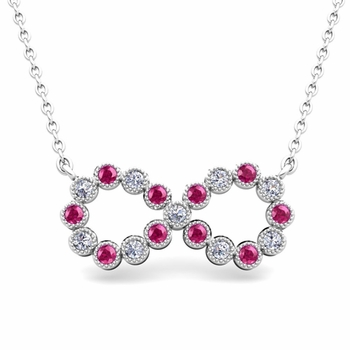 Milgrain Diamond and Pink Sapphire Necklace in 14k Gold Infinity Pendant