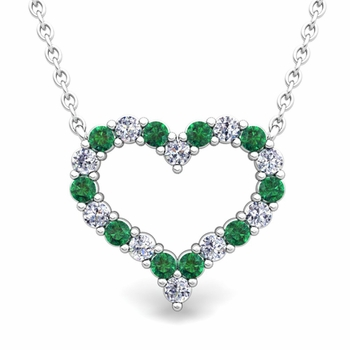 Pave Diamond and Emerald Heart Necklace in 14k Gold Pendant