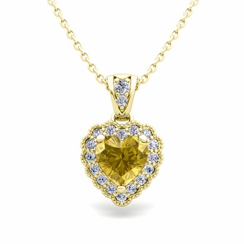 Milgrain Diamond and Yellow Sapphire Heart Necklace in 18k Gold Pendant