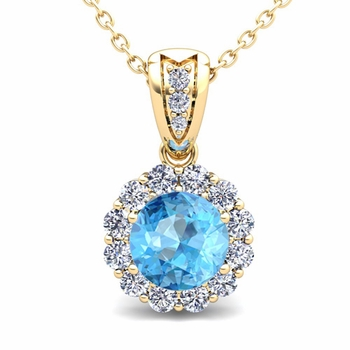 Diamond and Blue Topaz Pendant in 18k Gold Halo Necklace 6mm