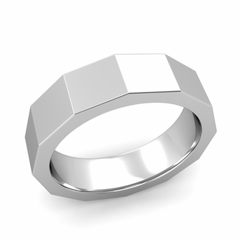 Square Comfort Fit Wedding Ring in 14k Gold Polished Finish Band, 6mm