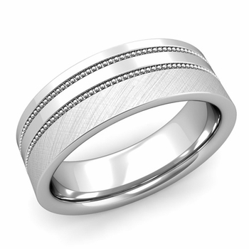 Double Milgrain Wedding Ring in Platinum Comfort Fit Band, Mixed Brushed Finish, 7mm