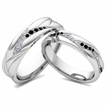 Matching Wave Wedding Band in 14k Gold Black and White Diamond Ring