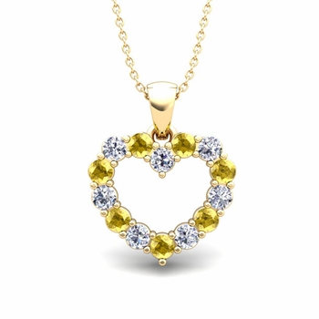 Heart Diamond and Yellow Sapphire Necklace in 18k Gold Pendant