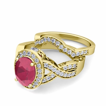 Infinity Diamond and Ruby Engagement Ring Bridal Set in 18k Gold, 7x5mm