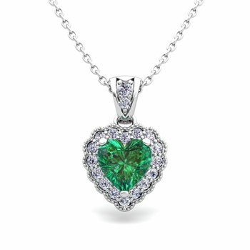 Milgrain Diamond and Emerald Heart Necklace in 14k Gold Pendant