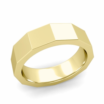 Square Comfort Fit Wedding Ring in 18k Gold Polished Finish Band, 6mm