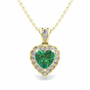 Milgrain Diamond and Emerald Heart Necklace in 18k Gold Pendant