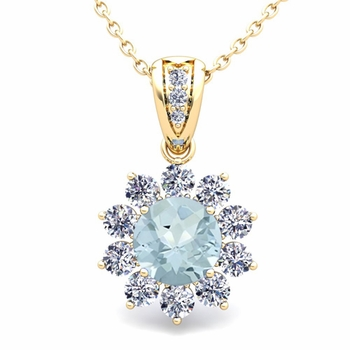 Halo Diamond and Aquamarine Pendant in 18k Gold Necklace 6mm