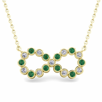 Milgrain Diamond and Emerald Necklace in 18k Gold Infinity Pendant