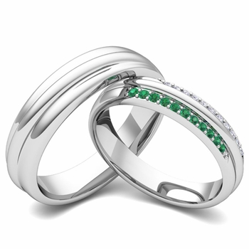 Matching Wedding Band in 14k Gold Pave Diamond and Emerald Ring