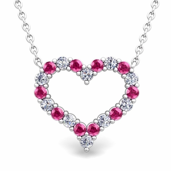 Pave Diamond and Pink Sapphire Heart Necklace in 14k Gold Pendant