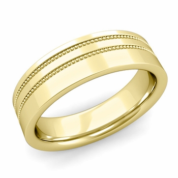 Double Milgrain Wedding Ring in 18k Gold Comfort Fit Band, Polished Finish, 6mm