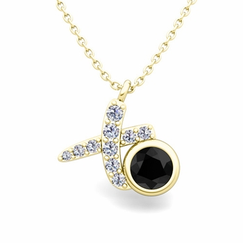 Pave Diamond and Solitaire Black Diamond in 18k Gold XO Pendant