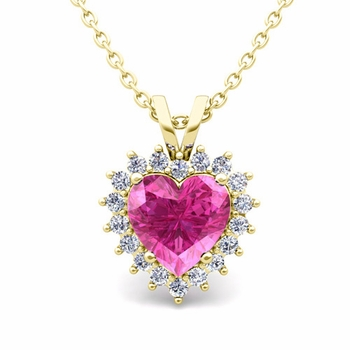 Heart Pink Sapphire and Diamond Necklace in 18k Gold Pendant