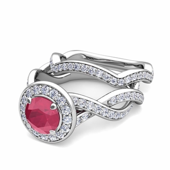 Infinity Diamond and Ruby Engagement Ring Bridal Set in 14k Gold, 6mm