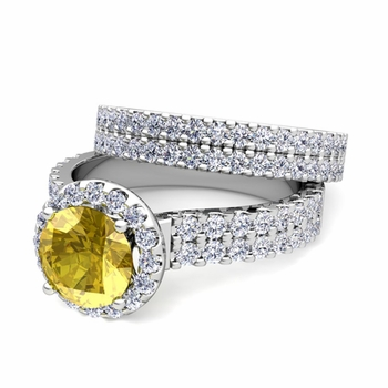 Two Row Diamond and Yellow Sapphire Engagement Ring Bridal Set in Platinum, 7mm