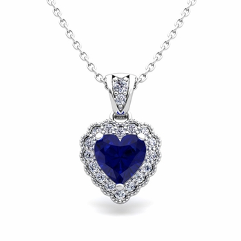 Milgrain Diamond and Sapphire Heart Necklace in 14k Gold Pendant