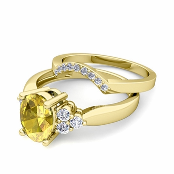 Three Stone Diamond and Yellow Sapphire Engagement Ring Bridal Set in 18k Gold, 7x5mm
