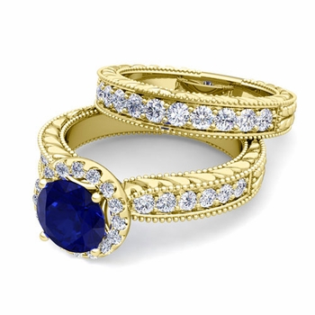 Vintage Inspired Diamond and Sapphire Engagement Ring Bridal Set in 18k Gold, 7mm