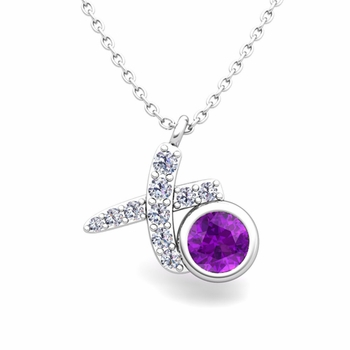 Pave Diamond and Solitaire Amethyst in 14k Gold XO Pendant