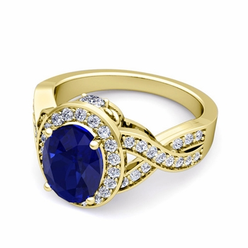Infinity Diamond and Blue Sapphire Engagement Ring in 18k Gold, 9x7mm