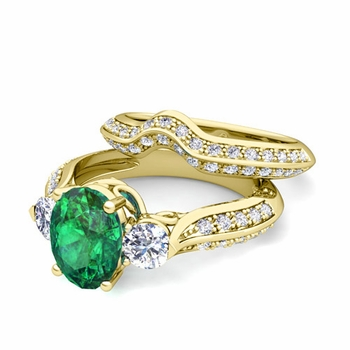 Vintage Inspired Diamond and Emerald Three Stone Ring Bridal Set in 18k Gold, 7x5mm