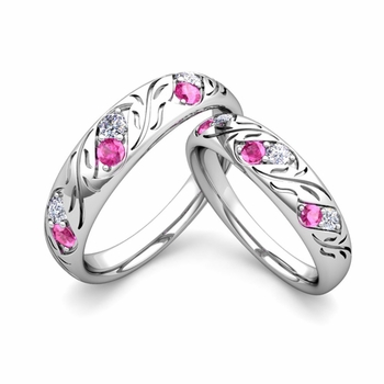 His and Hers Matching Wedding Band in Platinum: Diamond and Pink Sapphire