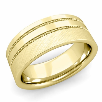 Double Milgrain Wedding Ring in 18k Gold Comfort Fit Band, Mixed Brushed Finish, 8mm