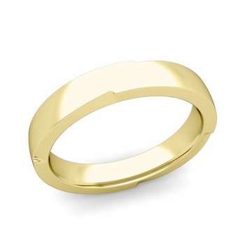 Unique Comfort Fit Wedding Band with Polished Finish in 18k Gold Band, 4mm