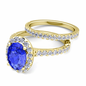 Bridal Set: Pave Diamond and Ceylon Sapphire Engagement Wedding Ring in 18k Gold, 7x5mm