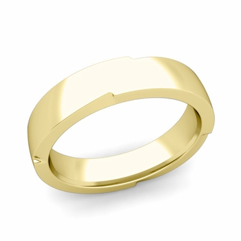 Unique Comfort Fit Wedding Band with Polished Finish in 18k Gold Band, 5mm