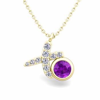 Pave Diamond and Solitaire Amethyst in 18k Gold XO Pendant