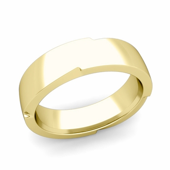 Unique Comfort Fit Wedding Band with Polished Finish in 18k Gold Band, 6mm