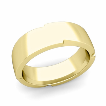 Unique Comfort Fit Wedding Band with Polished Finish in 18k Gold Band, 7mm