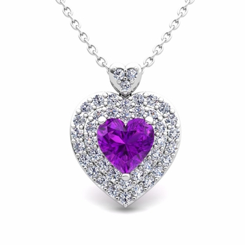 Two Heart Diamond and Amethyst Necklace in 14k Gold Pendant
