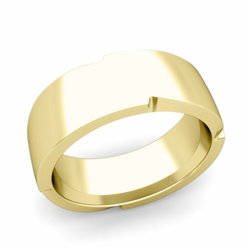 Unique Comfort Fit Wedding Band with Polished Finish in 18k Gold Band, 8mm
