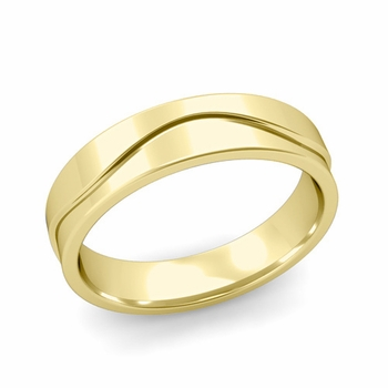 Wave Wedding Band in 18k Gold Comfort Fit Ring, Polished Finish, 5mm