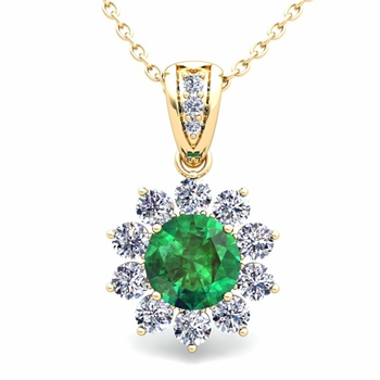 Halo Diamond and Emerald Pendant in 18k Gold Necklace 6mm