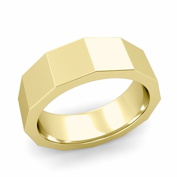 Square Comfort Fit Wedding Ring in 18k Gold Polished Finish Band, 7mm