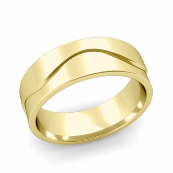 Wave Wedding Band in 18k Gold Comfort Fit Ring, Polished Finish, 7mm