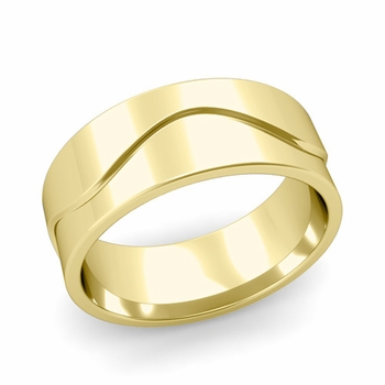 Wave Wedding Band in 18k Gold Comfort Fit Ring, Polished Finish, 8mm