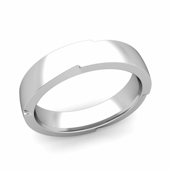 Unique Comfort Fit Wedding Band with Polished Finish in Platinum Band, 5mm