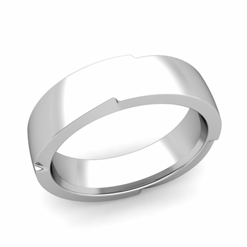 Unique Comfort Fit Wedding Band with Polished Finish in Platinum Band, 6mm