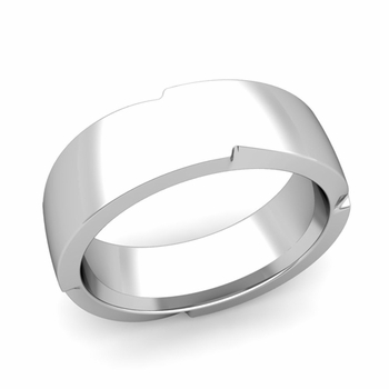 Unique Comfort Fit Wedding Band with Polished Finish in Platinum Band, 7mm