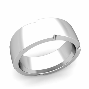 Unique Comfort Fit Wedding Band with Polished Finish in Platinum Band, 8mm