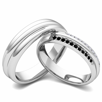 Matching Wedding Band in 14k Gold Pave Black and White Diamond Ring