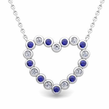 Bezel Diamond and Sapphire Heart Necklace in 14k Gold Pendant